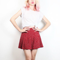 Vintage Micro Mini Skirt 1990s Skirt Red White Tan Polka Dot Pleated Skirt 90s Skirt Soft Grunge Heathers Preppy Tennis Skirt XS S Small