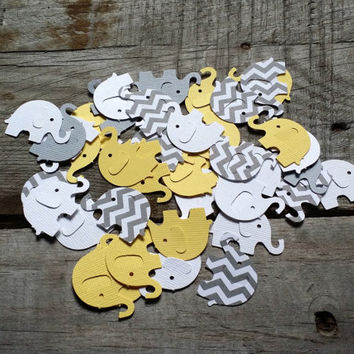 Grey And Yellow Chevron Elephant Confetti Baby Shower