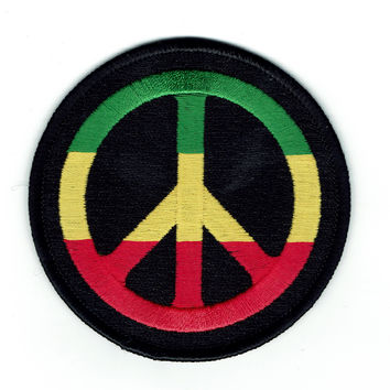 Rasta Peace Sign Patch