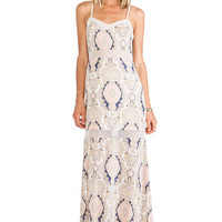 BCBGeneration Printed Seamed Dress in Ivory