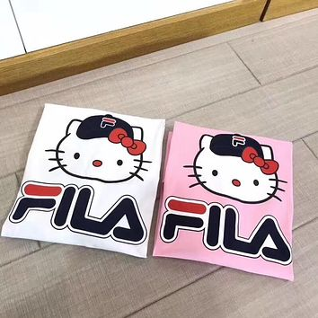 """Fila x Hello Kitty"" Women Casual Cute Letter Cartoon Pattern Print Short Sleeve T-shirt Top Tee"
