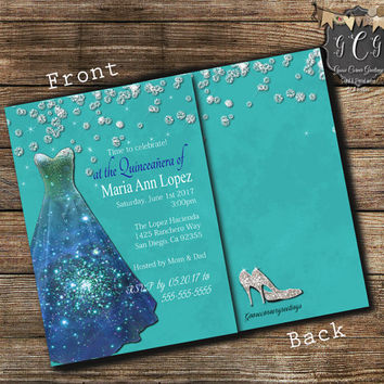 Quinceanera Invitation,Sweet 15 Invitations,Sweet sixteen invitation,Quinceanera Invitations, Rhinestone Dress, Bling Invitations, TEAL
