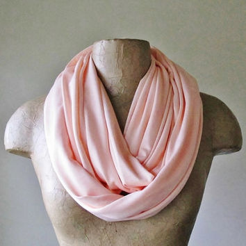 PALE CORAL Pink Infinity Scarf - Handmade Circle Scarf - Lightweight Jersey Loop Scarf