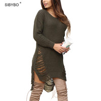 Oversized Sweater Women 2017 New Autumn Winter Loose Long Sweater Dress Casual Tassel Hollow Out Split Knitted Sweaters