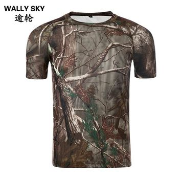 Men's Summer Camouflage Army T-Shirt Quick-dry Bionic Breathable Shirt Military Male T-Shirt Outdoor Hunting Shirt Camo T shirt