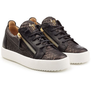 Embossed Leather Platform Sneakers - Giuseppe Zanotti | WOMEN | US STYLEBOP.COM