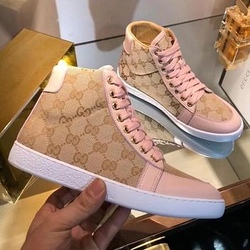 GUCCI Trending Women Stylish High Top Sport Shoes Sneakers Khaki/Pink