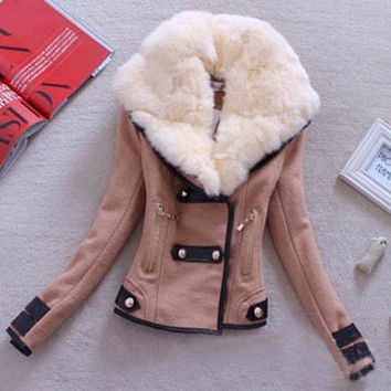 Women Fashion Slim Bodycon Fur Collar Coat Casual Jacket