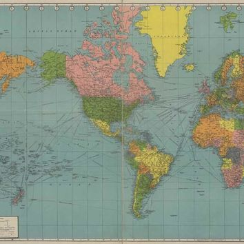Vintage World Map Old Style Oil Painting Unique Gift printed on canvas Home Decor wall pictures for living room Artwork GP017
