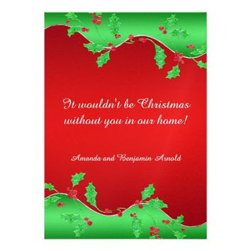 Elegant Ornate Green Red Holly Christmas Holiday Card