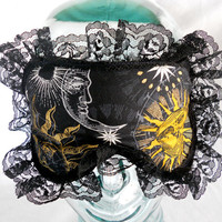 Satin Lined Sleep Mask - New Age Sun and Moon Celestial Gold White Yellow Black Lace Trim - Bath and Beauty