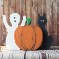 Halloween Black Cat, Pumpkin, Ghost Shelf Sitter