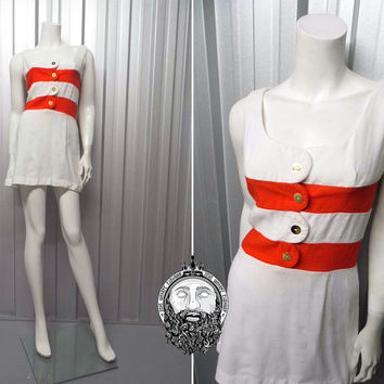 Vintage 60s MARY QUANT Mini Dress Mod Shift Dress Red and White Horizontal Stripe Tennis Dress Gogo Gold Buttons Designer 1960s Space Age