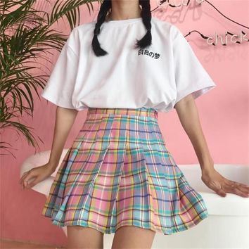 Summer College Wind Rainbow Gradient Plaid Pleated Skirt Women's Skirts Ladies Kawaii Female Korean Harajuku Cute Clothing Women