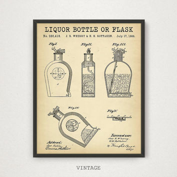 Liquor Bottle or Flask Patent, Whiskey Poster, Bar Decor, Whiskey Print, Vodka Alcohol Whisky Liquor Hip Flask Bottle Art, Alcohol Gifts