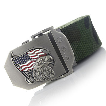 American Flag Eagle Buckle with Canvas Belt 8 styles