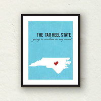 Custom Silhouette - North Carolina Print - state home decor - Tar Heel State 8x10 print - blue home decor