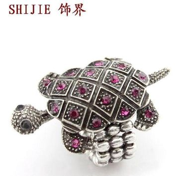 Foreign trade accessories European and American retro court ring cute little turtle full diamond popular elastic ring ring jewelry promotion