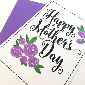 Mother's Day Card - Happy Mother's Day Card - Mother's Day Gift Card - Purple Rose Mother's Day Card - Watercolor Greeting Card For Mom