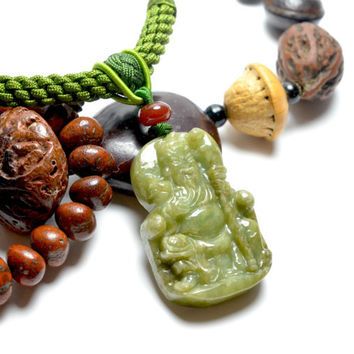 Protective Guardian Kwan Kung Sculpted Milky Green Jade Gemstone Pendant Necklace -Imperial Jade Collection