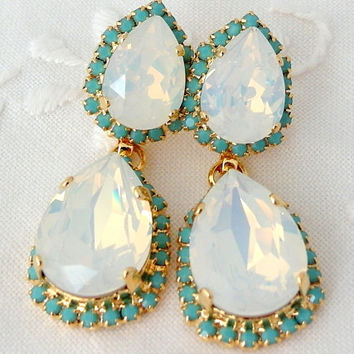 Shop opal chandelier earrings on wanelo white opal and turquoise chandelier earrings bridal earrings 1 mozeypictures Choice Image