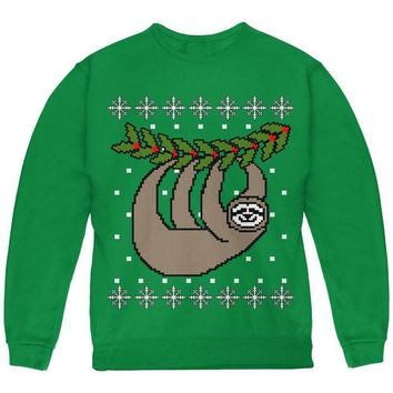 ONETOW Big Hanging Sloth Ugly Christmas Sweater Youth Sweatshirt
