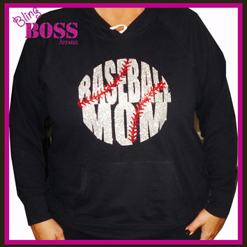 Baseball Mom Bling Shirt Hoodie Tee Sparkle Custom Choose your colors Made Team Coach School Player Gift Base Ball Sports