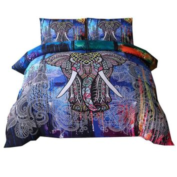 Cool Bohemian Elephant print Duvet Cover Set 2/3pcs Single Double Queen King Bed Linen boho Bedding Sets(No Sheet No Filling)AT_93_12
