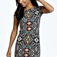 Becca Printed Cap Sleeve Bodycon Dress