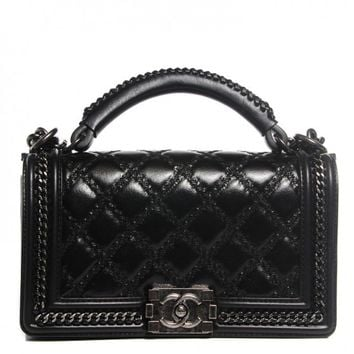 Chanel Pre-Owned - Chanel Black Goatskin Quilted Medium Boy Top Handle Flap Bag | Bluefly.Com