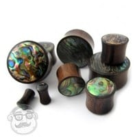 Exotic Abalone Shell Inlay Wood Plugs (6 Gauge - 1 Inch) | UrbanBodyJewelry.com