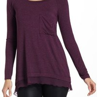 Chiffon-Split Tee by Bordeaux Plum L Tops