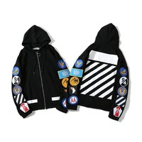Hoodies Hats Print Stripes Zippers Jacket [11412549703]