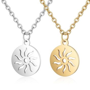 Stainless Steel Sun Necklace