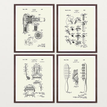 Beauty Poster - Inventions of Beauty - 4 Print Set - Lipstick - Hair - Eye Makeup - Bathroom Wall Art - Bathroom Art - Fashion Poster Makeup