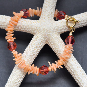 Coral Branch Bracelet, Pink Swarovski Crystal, Orange Jewelry, Stackable