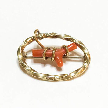 Victorian Coral Branch Brooch / Pin, Small Oval Coral Gold Pin, Baptism Gift, Infant / Childrens Jewelry, 1800s, Antique Jewelry