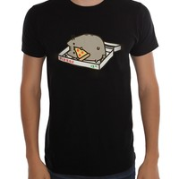 """Pusheen The Cat """"PUSHEEN EATING PIZZA"""" PIZZA BOX T-Shirt NWT Licensed & Official"""