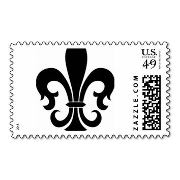 Black And White Fleur De Lis Postage Stamp