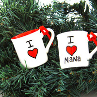 Custom Christmas ornament personalized decoration miniature ceramic mug I heart blank diy
