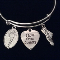 I Love Cross Country Runner Silver Expandable Charm Bracelet Adjustable Wire Bangle Finish Line Gift Trendy