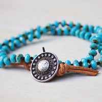 Beaded 2x wrap bracelet -  artisan boho - turquoise blue czech beads