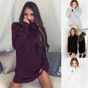 Turtleneck Womens Casual Long Sleeve Jumper Turtleneck Sweaters Dress Polyester Fabric 2017 Vicky