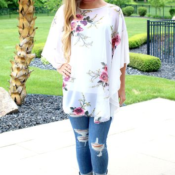 Colorful Floral Print Sheer Poncho
