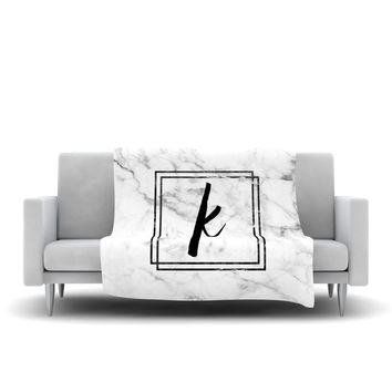 "KESS Original ""Gray Marble Monogram"" Fleece Throw Blanket"
