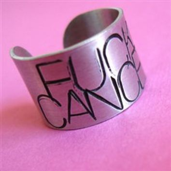 Fuck Cancer Ring - Spiffing Jewelry