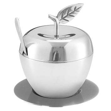 Honey Dish Apple Shape Stainless Steel Hammered With Tray & Spoon