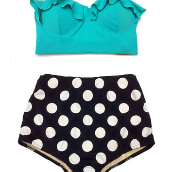 Mint Midkini Top and Black Polka dot High Waisted Shorts Bottom Bottoms Vintage Retro Bikini Swimsuit Bathing suit suits Swim wear Women S M