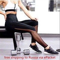 workout Legging workout clothes for women female fitness work out black mesh track pants clothing P0485