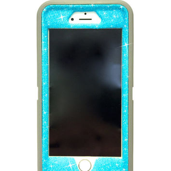 iPhone 6 Plus OtterBox Defender Series Case Glitter Cute Sparkly Bling Defender Series Custom Case  grey / blueberry slush